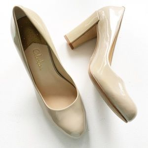 ⭐️ Cole Haan ⭐️ Nude Patent Leather Block Pumps